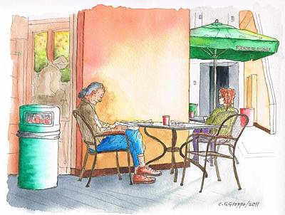 Better Alone... In Starbucks At 8000 Sunset Blvd - West Hollywood - California Original by Carlos G Groppa