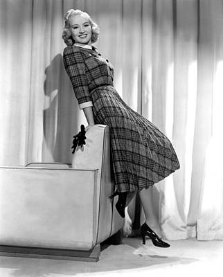 Betty Grable In Plaid, Pleated Sports Art Print by Everett
