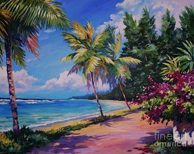 Bvi Painting - Between The Palms by John Clark