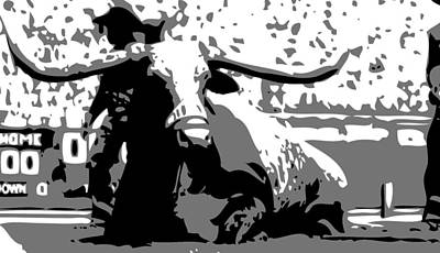 Heart Of Texas Digital Art - Bevo Bw3 by Scott Kelley