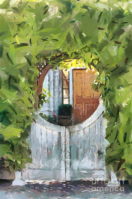 Painted Garden Gate Painting - Beyond The Gate - A Scene From Mackinac Island Michigan by Anne Kitzman