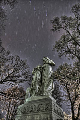 Beyond The Grave - Star Trails Over Statue Original