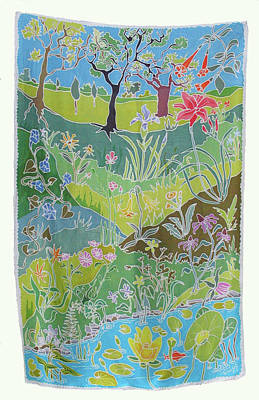 Silk Wall-hanging Painting - Beyond The Pond by Rollin Kocsis
