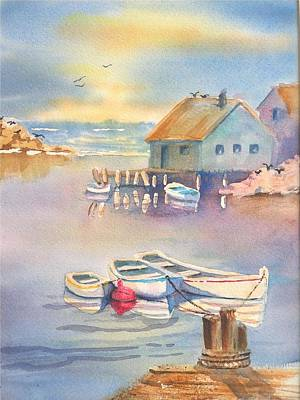 Fishing Bouys Painting - Beyond The Red Buoy by Angela  Harris