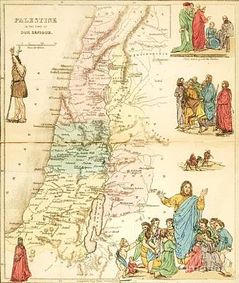 Jesus Drawing - Biblical Map Palestine by Pg Reproductions