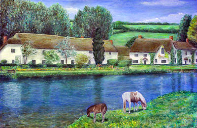 Village Painting - Bickleigh On The Exe - Devon by Ronald Haber