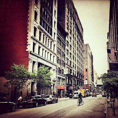 Cycling Wall Art - Photograph - Bicycle And Buildings In New York City by Vivienne Gucwa