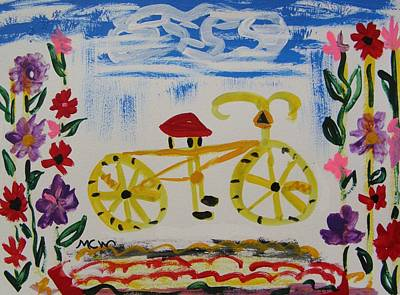 Pennsylvania Drawing - Bicycle And Flowers by Mary Carol Williams