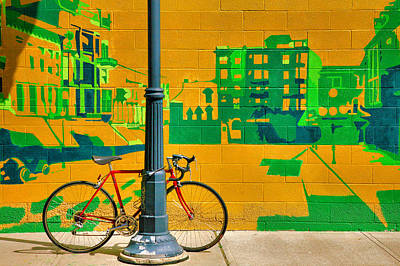 Bicycle And Mural Art Print by Steven Ainsworth