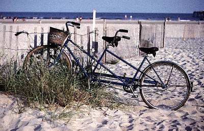 Bicycle Built For Two On A Beach Art Print by Ercole Gaudioso