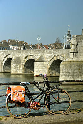 Photograph - Bicycle By The Maas River In Maastricht by Carol Vanselow