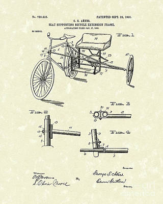 Bicycle Extension Frame 1903 Patent Art Art Print by Prior Art Design