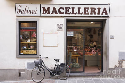 Bicycle In Front Of Italian Delicatessen Art Print by Jeremy Woodhouse