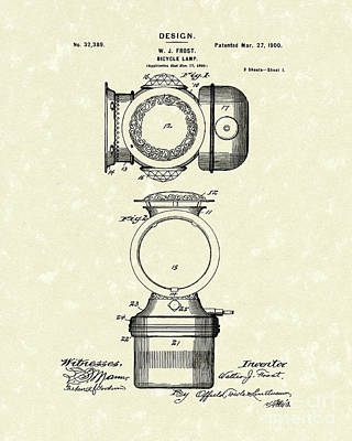Bicycle Drawing - Bicycle Lamp Design 1900 Patent Art by Prior Art Design