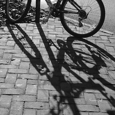 Photograph - Bicycle Shadows In Black And White by Suzanne Gaff
