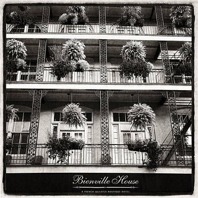 Photograph - Bienville House In Black And White by Tammy Wetzel