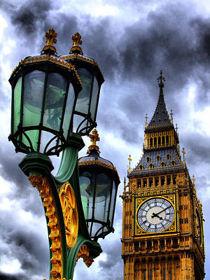 Big Ben And Lamp - Hdr Art Print by Colin J Williams Photography