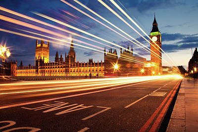 Illuminated Photograph - Big Ben And The Houses Of Parliament. by Stuart Stevenson photography