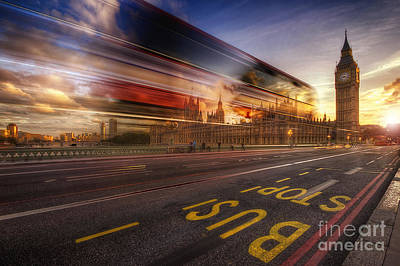 Photograph - Big Ben Bus Stop by Yhun Suarez