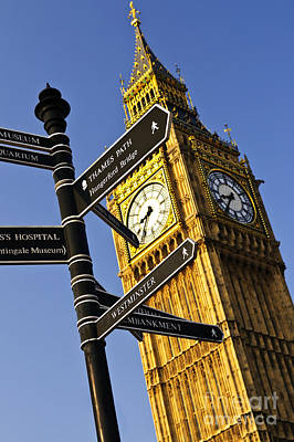 Big Ben Wall Art - Photograph - Big Ben Clock Tower by Elena Elisseeva
