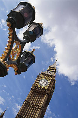 Streetlight Photograph - Big Ben & Lamp Post, Close Up by Axiom Photographic