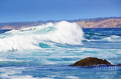 Big Blue Wave Breaks On La Jolla California's Pacific Coast Art Print by Susan McKenzie