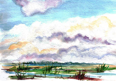 Bayville Painting - Big Clouds by Clara Sue Beym