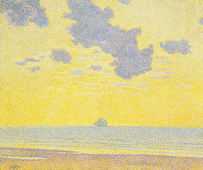 Blue Pirate Ships Landscape Painting - Big Clouds by Theo van Rysselberghe