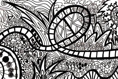 Roller Coaster Drawing - Big Dipper by Karen Elzinga