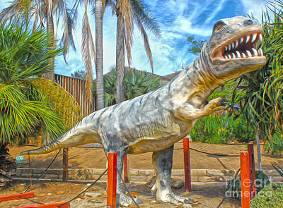 Painting - Big Fake Dinosaur - T-rex by Gregory Dyer