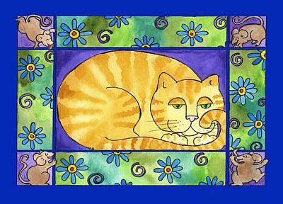 Corwin Painting - Big Fat Cat by Pamela  Corwin