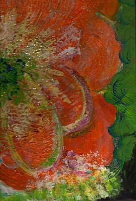 Side View Mixed Media - Big Orange Flower  by Anne-Elizabeth Whiteway