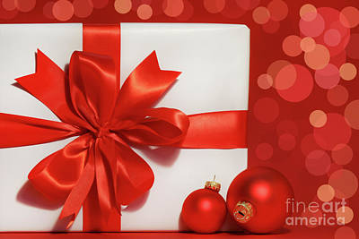 Big Red Bow On Gift  Art Print by Sandra Cunningham