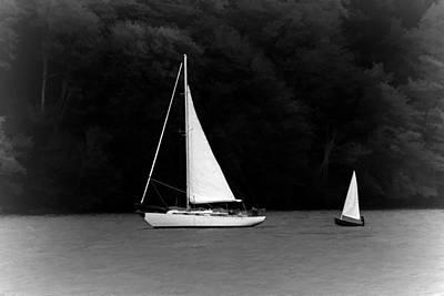 Boating Digital Art - Big Sailboat Little Sailboat by Tracie Kaska