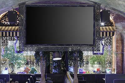 Big Screen In Restaurant Art Print