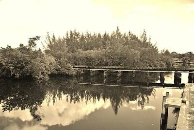 Photograph - Big Sky And Dock On The River In Sepia by Rob Hans