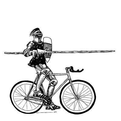 Bike Drawing - Bike Joust by Karl Addison