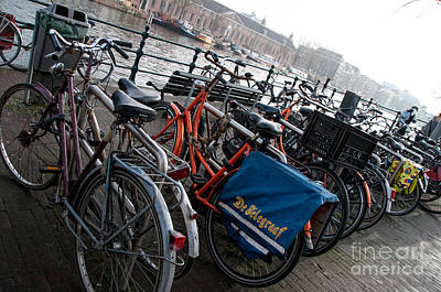 Art Print featuring the digital art Bikes In Amsterdam by Carol Ailles