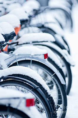 Art Print featuring the photograph Bikes In Snow by Andrew  Michael
