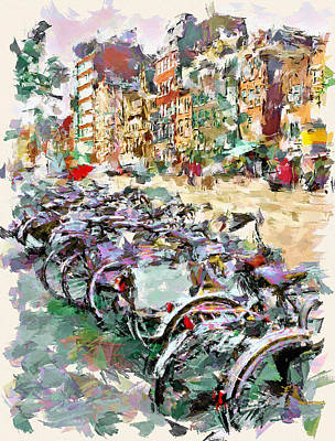 Amsterdam Digital Art - Bikes Of Amsterdam by Yury Malkov