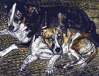 Bill And April Dog Pals Art Print by Robert Goudreau