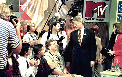 Bill Clinton Appears With Young Print by Everett