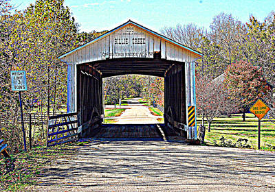 Billie Creek Village Covered Bridge Art Print by Robin Pross