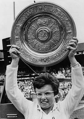 Wimbledon Photograph - Billie Jean King Holding Wimbledon by Everett