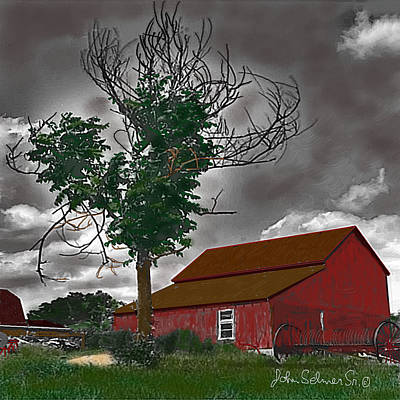Bills Barn   Red Art Print by John Selmer Sr