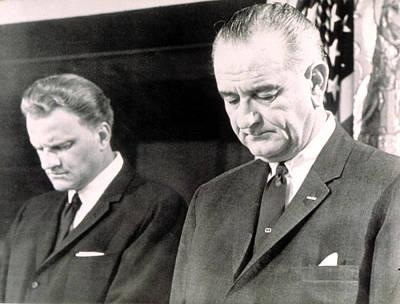 Billy Graham & President Lyndon B Art Print