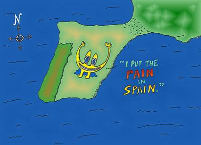 Financial Mixed Media - binary options news cartoon Euroman put the pain in Spain by OptionsClick BlogArt