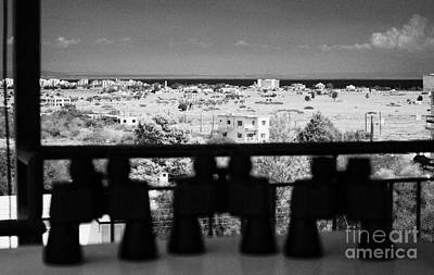 binoculars at observation point for tourists overlooking the UN buffer zone in cyprus Art Print by Joe Fox