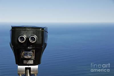 Anticipation Photograph - Binoculars Facing Ocean by Sami Sarkis