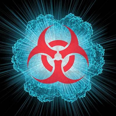 Biohazard Symbol And Virus Art Print by Laguna Design